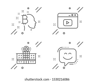 Bitcoin think, Video content and Hospital building line icons set. Smile face sign. Cryptocurrency head, Browser window, Medical help. Chat. Business set. Line bitcoin think outline icon. Vector