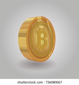 Bitcoin token in perspective with shiny style for use in business , digital and e-Commerce infographics