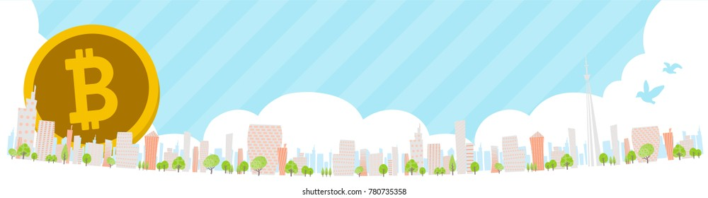 bitcoin Townscape back image illustration_skyline wide