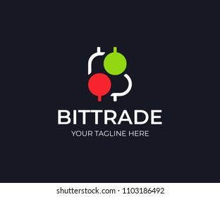 Bitcoin trade logo template. Bitcoin stock market vector design. Bitcoin symbol and trading candlestick logotype