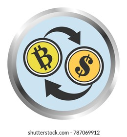 Bitcoin trading concept. Converting between Bitcoin and the Dollar.