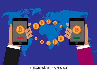Bitcoin transfer around the world. Flat design