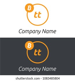 Bitcoin TT letters business logo with bitcoin icon and modern design template elements. Two colors background.
