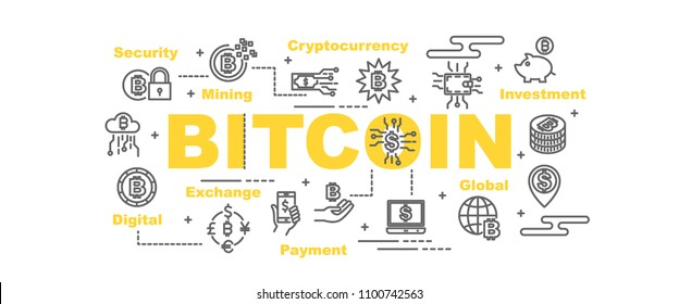 bitcoin vector banner design concept, flat style with icons