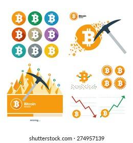 Bitcoin vector icons banners big set illustration