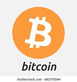 Bitcoin vector logo. Crypto currency BTC Bitcoin on blockchain technology sign sticker for web and print.