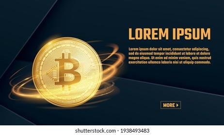 bitcoin vector slider banner design template