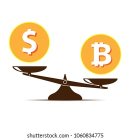 Bitcoin vs dollar vector concept with balance scales. Flat design vector illustration isolated on white background.