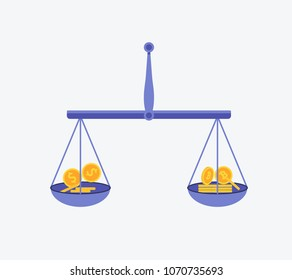 Bitcoin vs dollar vector concept with balance scales. Cryptocurrency illustration. Flat design vector illustration