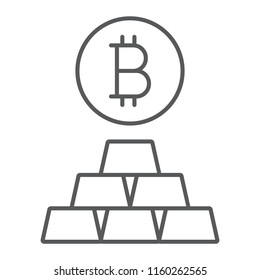 Bitcoin vs gold thin line icon, finance and money, currency sign, vector graphics, a linear pattern on a white background, eps 10.