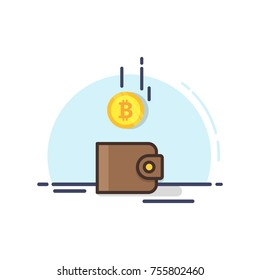 Bitcoin and the wallet. Coin drops in purse. Vector illustration. Brown purse with gold cryptocurrency symbol. Mining concept