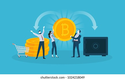 Bitcoin wallet. Flat design style web banner of blockchain technology, bitcoin, altcoins, cryptocurrency mining, finance, digital money market, cryptocoin wallet, crypto exchange.