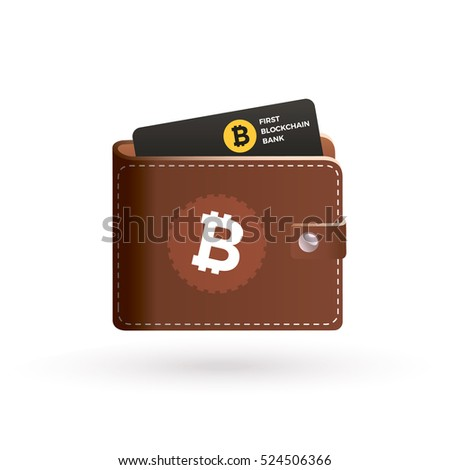 Bitcoin Wallet Logo With Bank Card Blockchain Crypto Currency For Payments