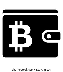 Bitcoin wallet symbolising bitcoin or other cryptocurrency transaction with bitcoin sign over walet.