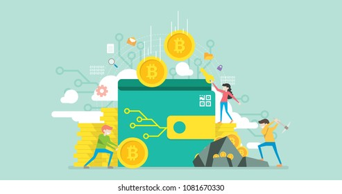 Bitcoin Wallet Tiny People Character Concept Vector Illustration, Suitable For Wallpaper, Banner, Background, Card, Book Illustration, Web Landing Page, and Other Related Creative