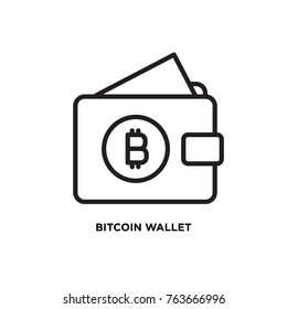 Bitcoin wallet vector icon, cash bitcoin symbol. Modern, simple flat vector illustration for web site or  mobile app