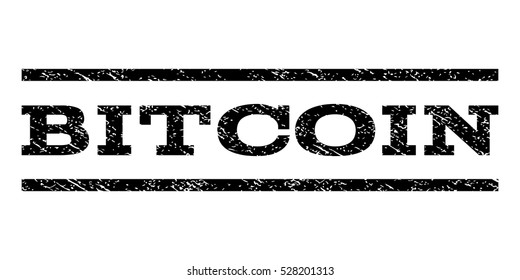 Bitcoin watermark stamp. Text caption between horizontal parallel lines with grunge design style. Rubber seal black stamp with dirty texture. Vector ink imprint on a white background.