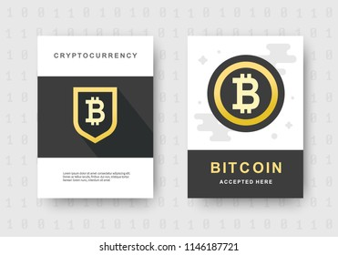 Bitcoin web banners set. Cryptocurrency logo sigh. Digital money investment background. Block chain, finance symbol. Flat style vector illustration