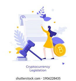 Bitcoin, woman reading document and gavel. Concept of cryptocurrency legislation, legal regulation of crypto or digital currency, blockchain law. Modern flat vector illustration for poster, banner.