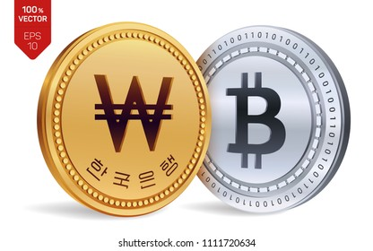 Bitcoin. Won. 3D isometric Physical coins. Digital currency. Korea Won coin. Cryptocurrency. Golden and silver coins with Bitcoin and Won symbol isolated on white background. Vector illustration.