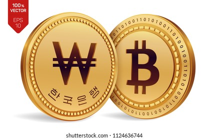 Bitcoin. Won. 3D isometric Physical coins. Digital currency. Korea Won coin. Cryptocurrency. Golden coins with Bitcoin and Won symbol isolated on white background. Vector illustration.