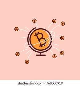 Bitcoin world icon. Cryptocurrencies are taking over the world sign. Bitcoin international payment system. Worldwide finance economy market is taken by bitcion. Global crypto flat vector illustration
