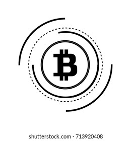Bitcoins. Abstract technology bitcoins logo on binary code and gear black background.