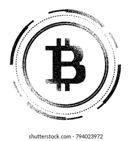 Bitcoins. Abstract technology bitcoins logo on binary code and gear black background. Grange texture.