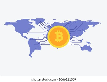 Bitcoins blockchain worldwide with map on the background. Bitcoin trading concept. in flat style