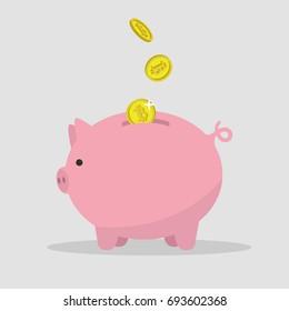 Bitcoins falling down in a piggy bank / flat editable vector illustration, clip art