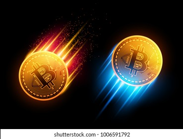 Bitcoins flies up and down.