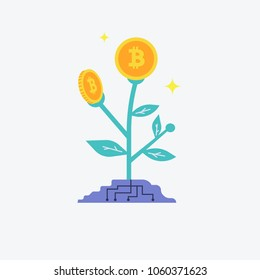 Bitcoins flower plant concept of virtual money for bitcoin and blockchain. Vector illustration Bitcoin business concept