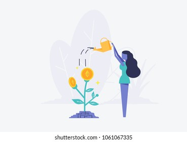Bitcoins flower plant concept of virtual money for etherium and blockchain. Women pour water from watering can Vector illustration Bitcoin business concept
