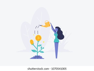 Bitcoins flower plant concept of virtual money and blockchain. Women pour water from watering can Vector illustration Bitcoin business concept