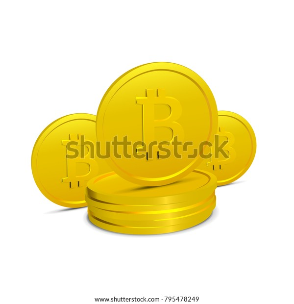 Bitcoins Isolated on White Background. Few Realistic 3D Gold Crypto Coins. Vector illustration of Electronic Virtal Money. Cryptographic Currency.