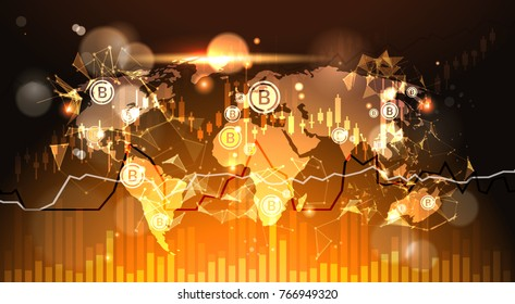 Bitcoins Over World Map Background Finacial Charts And Graphs Modern Crypto Currency Digital Money Concept Vector Illustration