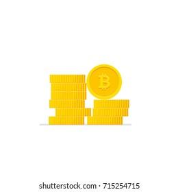 Bitcoins pile illustration. Modern flat design.