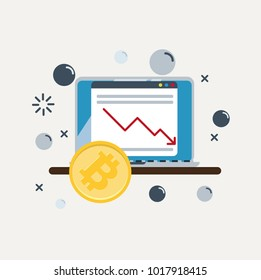 Bitcoin's Price Drops. Graph on the laptop falling down. Vector Illustration.