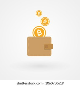 Bitcoins with wallet. Savings concept. Digital currency. Vector illustration, flat design