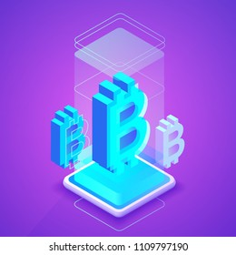 Bitcon cryptocurrency vector illustration of blockchain or bit coin mining farm. Digital crypto currency tehcnology concept on purple ultraviolet background