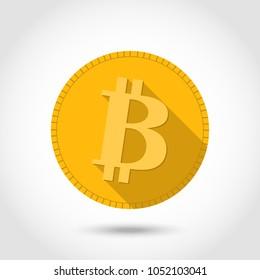 Bitcon icon flat design.Cryptocurrency.Virtual money illustration cartoon