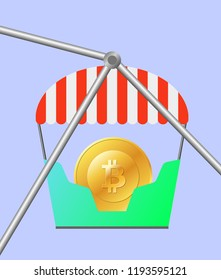 Bitcon in a lunapark, in Ferris wheel, concept growth and falls price