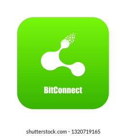 Bitconnect icon green vector isolated on white background