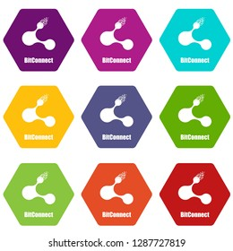 Bitconnect icons 9 set coloful isolated on white for web