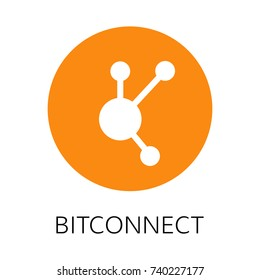 Bitconnect vector icon. Cryptocurrency with huge market capitalization. Based on blockchain technologie.