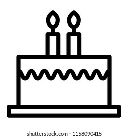 Bithday cake with candles line icon. Delicious cake vector illustration isolated on white. Sweets outline style design, designed for web and app. Eps 10.