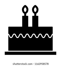 Bithday cake with candles solid icon. Delicious cake vector illustration isolated on white. Sweets glyph style design, designed for web and app. Eps 10.