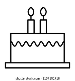 Bithday cake with candles thin line icon. Delicious cake vector illustration isolated on white. Sweets outline style design, designed for web and app. Eps 10.