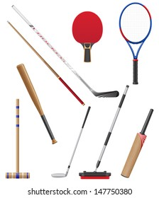 bits and stick to sports vector illustration isolated on white background