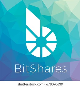 Bitshares (BTS) crypto currency coin blockchain flat logo a colored triangular background. Bitshares block chain coin sticker for web or print.